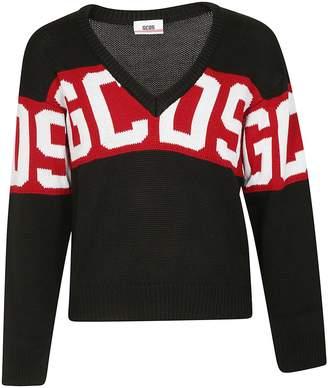 Gcds Knitted V-neck Logo Sweater