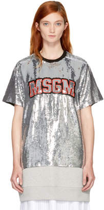 MSGM Silver Sequinned Logo T-Shirt