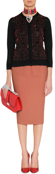 L'Wren Scott LWren Scott Black/Red Beaded Cashmere-Blend Cardigan