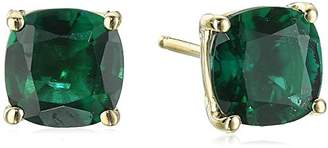 14k Yellow Gold Cushion Cut Created Emerald Stud Earrings