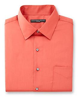 Geoffrey Beene Men's Coral Long Sleeve Sateen Dress Shirt