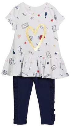 Kate Spade Doodle-Print Top W/ Matching Leggings, Size 2-6x