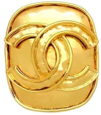 Chanel CC Logo Gold Tone Metal Quad Pin Brooch