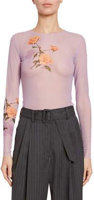 Dries Van Noten Floral-Print Sheer Long-Sleeve Top