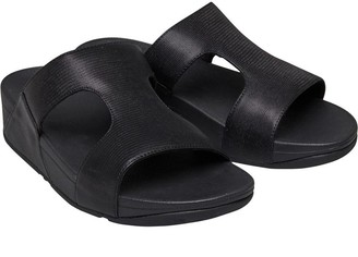 97af47fb3abc FitFlop Womens Shimmerlizard H-Bar Slide Sandals Black