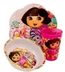 Zak Designs Dora the Explorer 3 Pc Mealtime Set Plate, Bowl, Tumbler