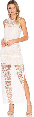 Aijek Blackjack Embroidered Column Maxi Dress