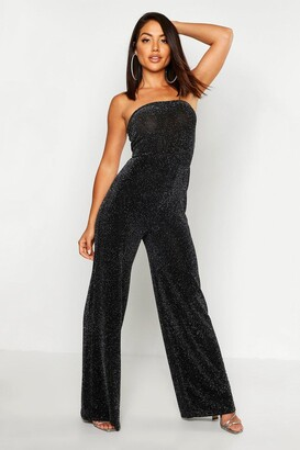 boohoo Strapless Wide Leg Sparkle Jumpsuit