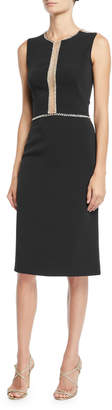 Jenny Packham Sleeveless Embellished Illusion Sheath Dress