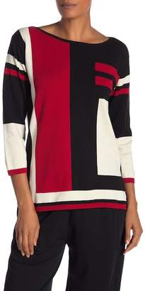 Joan Vass Intarsia Colorblock Sweater