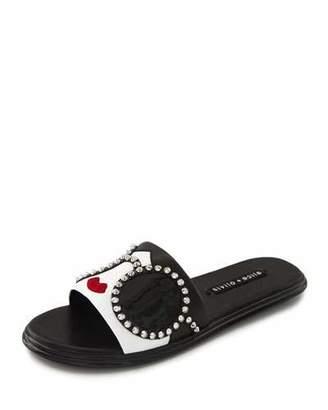 Alice + Olivia Valma Stace-Face Flat Slide Sandals