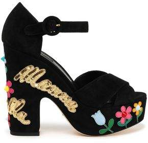 Dolce & Gabbana Mamma Bella Appliquéd Suede Platform Sandals