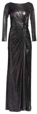 Rene Ruiz Ruched Side Slit Patent Glitter Long-Sleeve Gown