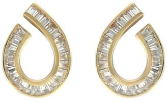 14K Yellow Gold Open Pear Shaped Tapered Baguette 1.44ctw. Diamond Earrings