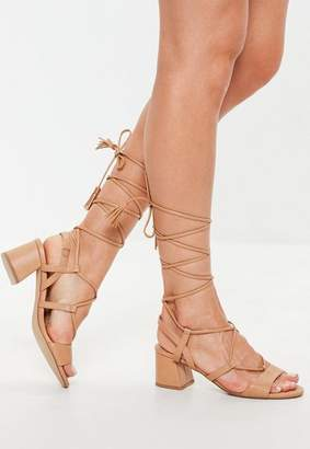 Missguided Mid Block Heel Ghillie Sandals