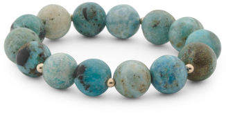 Made In Usa 14k Gold African Blue Opal Stretch Bracelet