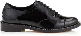 Jimmy Choo REEVE FLAT Black Patent Leather Brogues with Crystal Welt