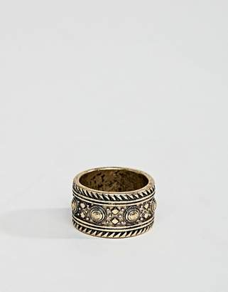Asos DESIGN Ring With Geo-Tribal Emboss In Burnished Gold