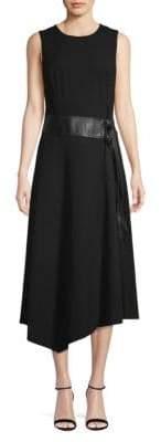 Calvin Klein Belted Asymmetric A-Line Dress