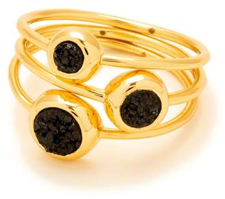 Gorjana Black Druzy Astoria Ring - Set of 3 - Size 6