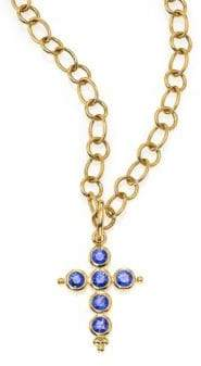 Temple St. Clair Classic Color Sapphire& 18K Yellow Gold Cross Pendant