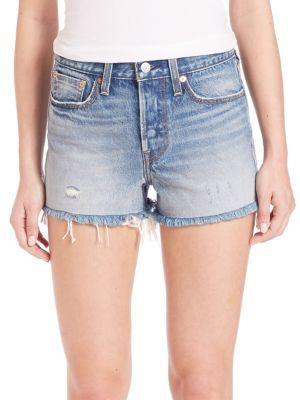 Levi's Wedgie Distressed Cut-Off Denim Shorts $98 thestylecure.com