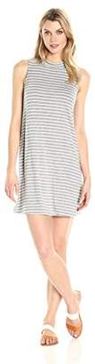 Tiana B Women's Stripe Rayon Spandex Mock Neck Sleeveless Dress