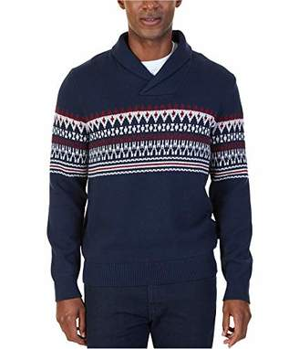 Nautica Men's Standard Long Sleeve Crew Neck Fairisle Sweater