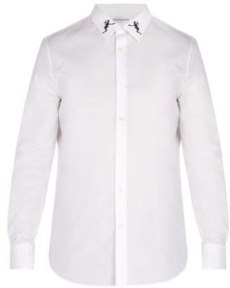 Alexander McQueen Dancing Skeleton Embroidered Cotton Shirt - Mens - White