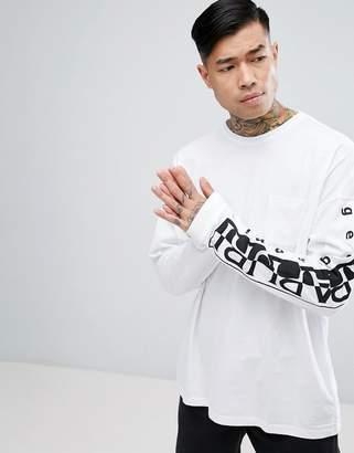 Napapijri Tier 1 Sabah Long Sleeve T-Shirt in White with Logo Arm