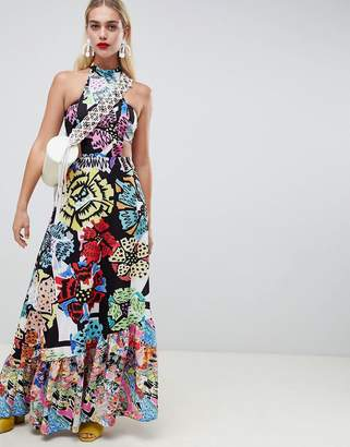Asos MADE IN Made In Kenya High Neck Maxi Dress In Mixed Print