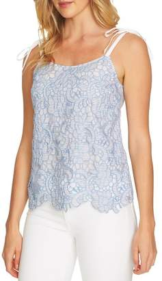 CeCe Embroidered Lace Tie Shoulder Top