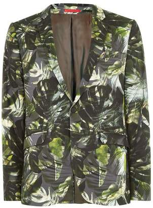 Topman Mens Green Palm Print Ultra Skinny Suit Jacket