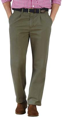 Charles Tyrwhitt Olive Classic Fit Single Pleat Cotton Chino Pants Size W32 L30