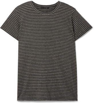 ATM Anthony Thomas Melillo Schoolboy Metallic Striped Stretch-jersey T-shirt - Light gray