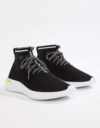 Pull&Bear knitted sock sneakers in black