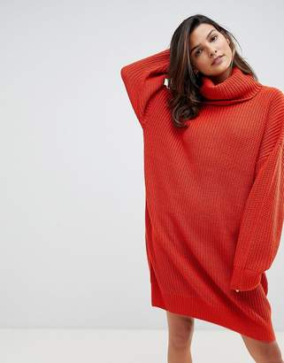 911850a27aaf68 Micha Lounge Knitted Sweater Dress With Oversized Funnel Neck