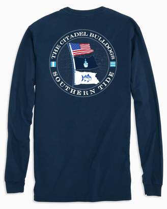 Southern Tide Gameday Nautical Flags Long Sleeve T-shirt - The Citadel