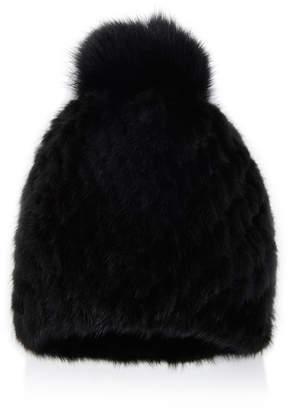 Pologeorgis Pom Pom-Embellished Fox-Fur And Mink Beanie