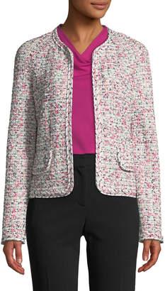 St. John Modern Pointelle Tweed Knit Jacket w\/ Braided Trim