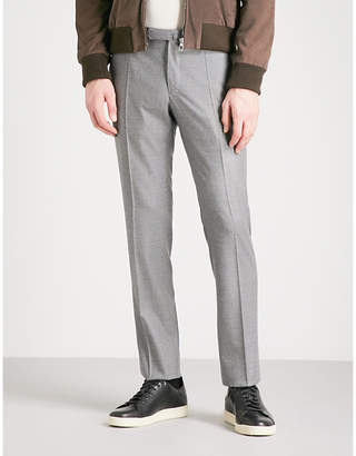 SLOWEAR Slim-fit wool-flannel trousers