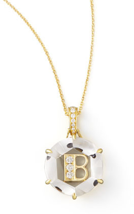 Frederic Sage Jelly Initial Yellow Gold Diamond Letter Necklace, B