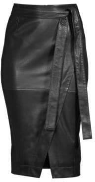 Diane von Furstenberg Grace Self-Tie Leather Pencil Skirt