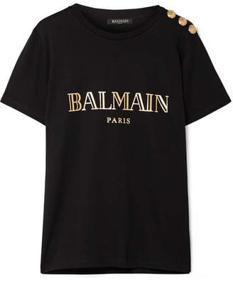 Balmain Button-embellished Printed Cotton-jersey T-shirt - Black
