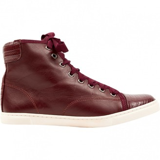 Lanvin Burgundy Leather Trainers
