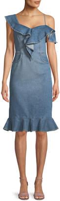Jonathan Simkhai One-Shoulder Classic Denim Dress with Ruffles