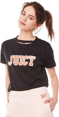 Juicy Couture Jxjc Logo Split Neck Graphic Tee