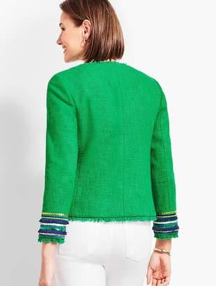 Talbots Embellished-Cuff Tweed Jacket