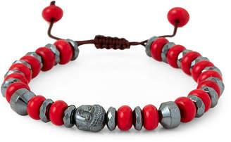 Jean Claude Red Coral & Hematite Macrame Beaded Bracelet