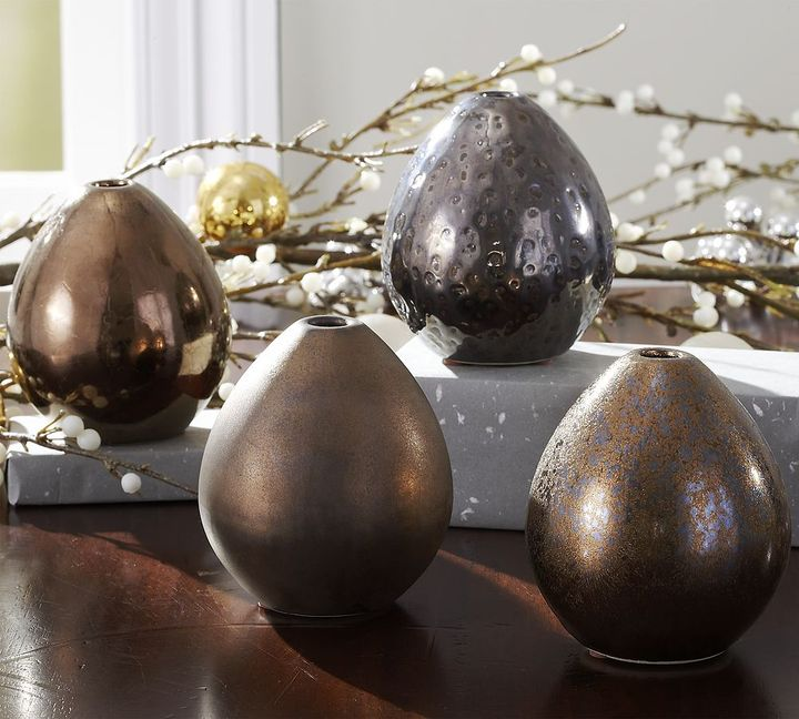 Metallic Egg Vases